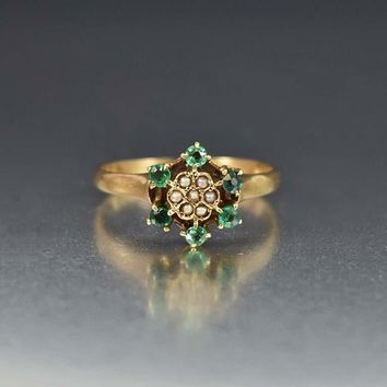 Victorian Seed Pearl and Emerald Engagement Ring