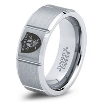 Oakland Raiders Ring Mens Fanatic NFL Sports Football Boys Girls Womens NFL Jewelry Fathers Day Gift Tungsten Carbide 031