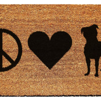 Peace, Love, and Pitbulls Doormat
