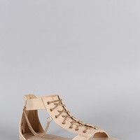 Liliana Lace Up Chain Flat Sandal