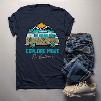 Men's Hipster Explore T shirt Road Trip Shirts Go Outside Vintage Van Graphic Tee Hand Drawn