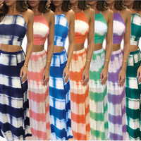 pring Summer 2017 Gradient striped print sexy party bodycon dress slit sides two pieces outfits vestidos mujer beach Maxi dress