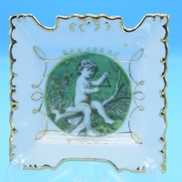 Gilded Hanging Plate Vintage Child Cherub Decorated Plate Gold Details Wire Hanging Square Plate Ashtray