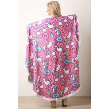 Rainbow Fringe Circular Cover Up Blanket