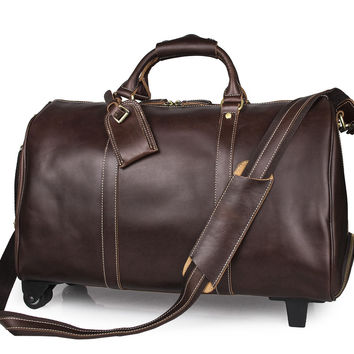 Genuine Leather Travel Tote Bag Trolley_Travel Bags_Men's Leather Bags
