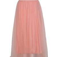 Pink High Waist Maxi Tulle Skirt
