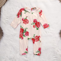 Autumn 2016 Newborn Baby Girls Cotton Long Sleeve Floral Romper Jumpsuit Outfits Clothes