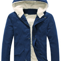 Thermal Solid Hooded Long Sleeves Parka Coat