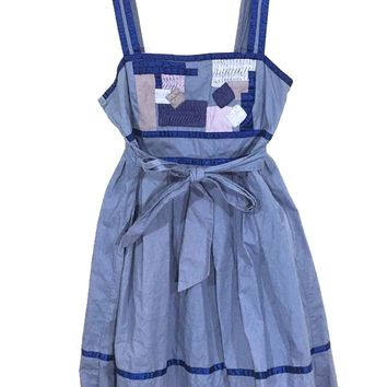 Silence + Noise Urban Outfitters Dress Blue Patchwork Smocked Womens Medium - Preowned