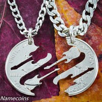 Guitar Necklaces, Band Friendship jewelry, Musical hand cut coin by Namecoins