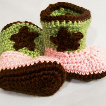 Baby Girls Crochet Cowboy Boots, Pink Brown and Green, Western Boots, Baby  gift, Baby Shower Gift, Handmade, Made in the USA, #228