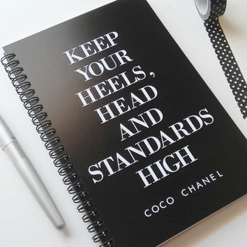 Writing journal, spiral notebook, bullet journal, black white, blank lined grid paper - Keep your heels head and standards high, Coco Chanel