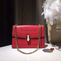 Kuyou Gb39724 Bvlgari Women's Serpenti Red Forever Calf Leather Flap Cover Bag 28*21*7cm