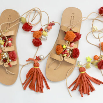 Greek Sandals, Tie Up Gladiator Sandals, Pom Pom Sandals
