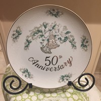 Plate,  Vintage 50th Anniversary Lefton Decorative Plate, gold rim,  Gift for special couple, Love Birds, Decoration for Party, Centerpiece