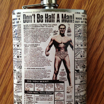 Charles Atlas Vintage Comic Book Stainless Steel Hip Flask