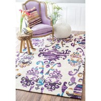 nuLOOM Purple Passion Damask Print Area Rug