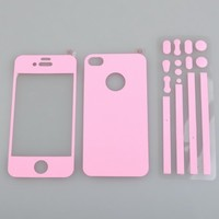 BestDealUSA Color Full Body Screen Protector Case Cover Film Skin For Apple iPhone 4S Pink