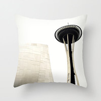 Pillow Cover, Seattle Space Needle, White, Throw Pillow, Industrial Loft Bungalow Decor, Couch Bed Living Accent Interior, 16x16 18x18 20x20
