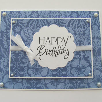 Happy Birthday Card, Blue Foral