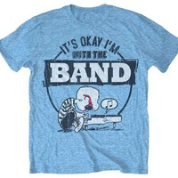 Peanuts Charlie Brown It's Okay I'm With The Band Adult Heather Light Blue T-Shirt - Peanuts - | TV Store Online