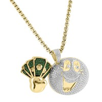 "Custom Smile Emoji Money Iced Out Pendant Multi Color Lab Diamonds Free 24"" Box Chain"