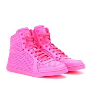 High-Top Neon Leather Sneakers ♦ Gucci * mytheresa