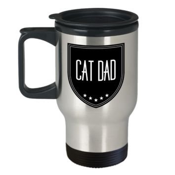 Cat Dad Travel Mug - Cat Person Mug - Best Cat Dad Ever Gift For Father's Day - Durable Stainless Steel Travel Coffee Mug - Cat Person Mug