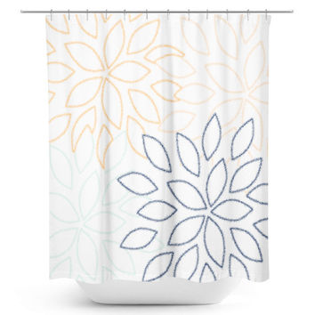 Floral Shower Curtain, Bathroom Decor, Bath Curtain, White Navy Orange Aqua Peach