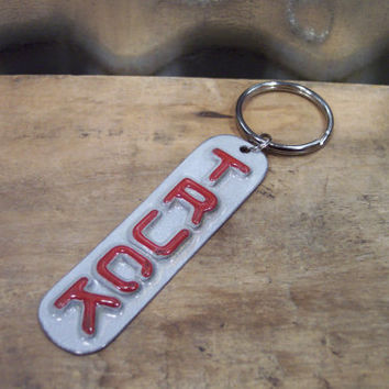 FREE SHIPPING Handmade Keychain - Upcycled - Recycled - Repurposed - License Plate Keyring - Truck Automobile Sweet Sixteen Gift Idea Car