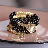 Memory Wire Wrap Bracelet Black Gold Heart Charm