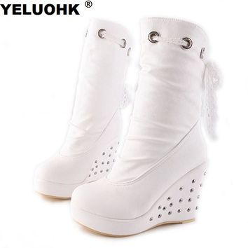New Rivet White Boots Wedge Shoes Women High Heels Platform Shoes Winter Boots Women Pumps Casual Women High Boots Mid Calf