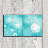 Dandelion print set poster printable Gift idea Wall art Turquoise Home decor Teal Mint Digital Modern Abstract Flower art INSTANT DOWNLOAD