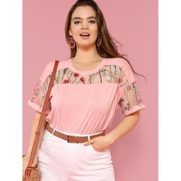 Plus Size Pink Embroidered Mesh Yoke Top