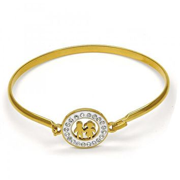 Stainless Steel 07.110.0008.04 Individual Bangle, Little Girl and Little Boy Design, with White Crystal, Polished Finish, Golden Tone (04 MM Thickness, Size 4 - 2.25 Diameter)