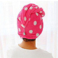 1X Lady Hair Wrap Head Towel Turbie Turban Twist Drying Cap Loop Button Hat BDAU