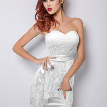 White Sweetheart Neckline Floral Lace Strapless Mini Dress
