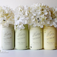Painted Mason Jars - Spring Yellows and Greens Wedding Decor - Home Decor - Vase - Centerpiece
