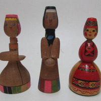 Vintage Wooden Set Dolls, Wooden Figurines, Rustic souvenir, Handmade Dolls, Wooden souvenir, Handmade Wooden Toys, Collecktions, Gift Idea