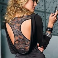 V-neck top w/lace inset by VENUS