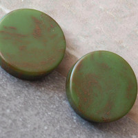 Green Bakelite Earrings Round Disks Post Vintage V0751
