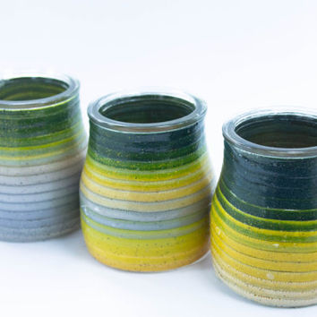 SET of 3, Decorative Vases, Polymer Clay Vase, Recycled Handmade vase
