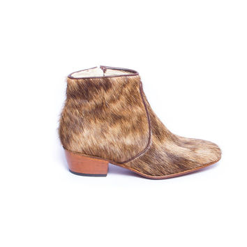hairy furry brown beatle boots - FREE SHIPPING