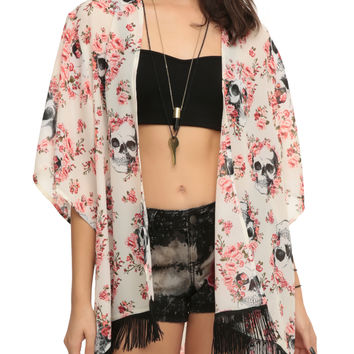 Skull Pink Floral Kimono Top from Hot Topic | Latina Bruja.