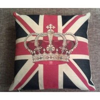 Royal Crown Union flag / Jack pillow Couch cushion. Authentic British from England. Perfect Diamond Jubilee memorabilia