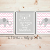 Let Her Sleep She will move mountains Pink Gray Nursery Decor Childrens Art Prints Elephant Nursery Art Pink Kids Room Wall Art Quote Print