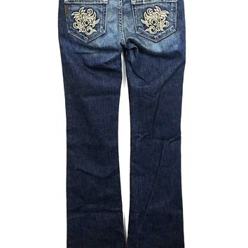 Women's Paige Jeans Hollywood Hills Boot Cut Sewn Size 25 Actual 26 x 34 Long - Preowned