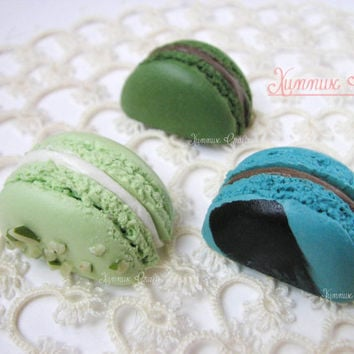 set of 3 refrigerator magnet, zakka, French macaron, office bulletin, decorative magnetic board ocha, green tea, earl grey,pistachio macaron