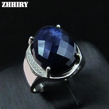 Men ring Natural sapphire Genuine solid 925 sterling silver precious gem stone man rings black blue fine jewelry