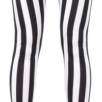 BLACK AND WHITE STRIPED COLOR BLOCK PONTE PANTS